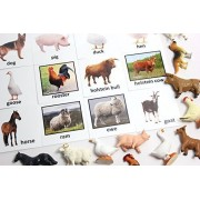 Montessori Animal Match Miniature Farm Animal Toy Figurines With Matching Cards 2 Part Cards. Montessori Learning Toy, Language Materials Busy Bag Activity