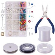 DIY Crafts Jewelry Making Starter Kit -Assorted Beads Craft Wire Hoops for Pendants Plier Set Cutting Tool and Jewelry Findings