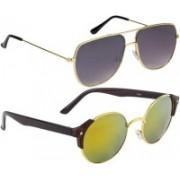 NuVew Round, Retro Square Sunglasses(Golden, Grey)