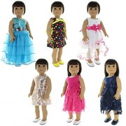 Doll Clothes - 6 Dress Outfits Bundle fits Clothing Sets Fits American Girl Doll, My Life Doll and other 18 inch Dolls