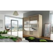 Smartshop Šatní skříň GAMBA III, dub sonoma/zrcadlo