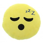 Emoji Sleepy Face Expression Smiley Emoticons 9 Round Pillow Plush Cushion - Yellow by Emoji Expressions
