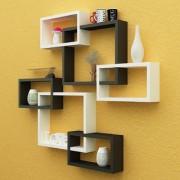 Santosha Decor Wall Decoration Shelf Rack Set Of 6 Intersecting Floating Shelves - Storage Wall Shelves (Black White)
