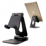 Universal Aluminium Alloy Foldable Desktop Mount Stand for iPhone iPad Samsung Smartphones & Tablets - Black