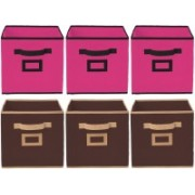 Billion Designer Non Woven 6 Pieces Small Foldable Storage Organiser Cubes/Boxes (Coffee & Pink) - CTKTC35203 CTKTC035203(Coffee & Pink)