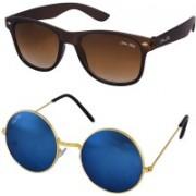 Silver Kartz Wayfarer Sunglasses(Brown, Blue)