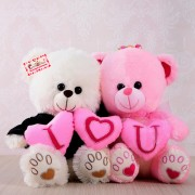 Grabadeal Couple Teddy Bear holding I Love You Heart (White and Pink) - 30 cm