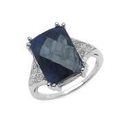 Inel argint 925 cu safir albastru si topaz alb