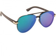 ADINE Unisex Black UV Protection Round Full Rim Sunglasses