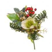 Bellatio flowers & plants Kerststukje versiering witte helleborus 17 cm