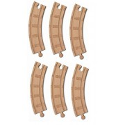 Authentic Thomas & Friends Wooden Railway 6 1/2 Inch Curved Track (6 Pieces) Loose Brand New