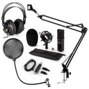 CM001B Set Microfono V4 Cuffie Condensatore Adattatore USB Braccio Anti-Pop