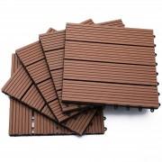 Outsunny Piastrelle da Giardino Incastrabili Set da 11 Mattonelle per Esterno Pavimentazione Giardino, Marrone, 30x30x2.2cm