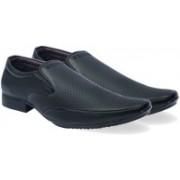 Axonza AXONZA Mens Black Faux leather Slip On 390 Office wear+Party wear new look Formal shoes Slip On For Men(Black)