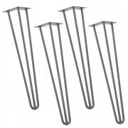 [en.casa]® Stylové stolové nohy 3 – sada noh (4 kusová) - 72 cm - stříbrné