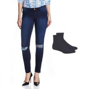 Fuego Fashion Wear Blue Knee Cut Jeans With Assorted Socks For Women
