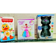 Play Design Dancing Duck & Touching Tom & Angel Girl Princess Dancing Doll (Multi Color) Combo Pack