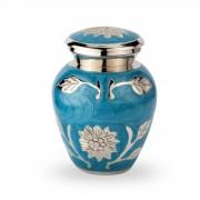 Urn kleur blauw met bloemen in zilverkleur (50ml)