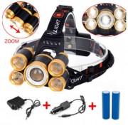 Lanterna De Cap 5 x Led ZOOM Frontala + 2x Acumulatori 18650