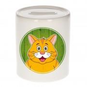 Bellatio Decorations Dieren spaarpot kat oranje voor kinderen 9 cm