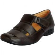 Fausto Men's Brown Premium Leather Outdoor Sandals