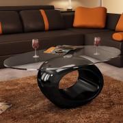vidaXL Mesa de centro com tampo oval de vidro, preto brilhante