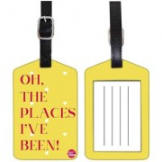 Nutcase Designer Luggage Travel Baggage PU Leather Single Tag - PLACES I HAVE BEEN - YELLOW