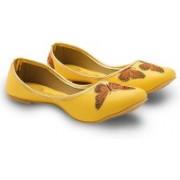 Little India Women Butterfly Designer Yellow Ballerina Sandals 350 Jutis For Women(Yellow)