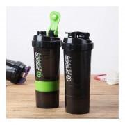Eh Tres Capas De Botella De Proteína En Polvo Shake Taza De Gran Capacidad De Ejercicio Botella-Negro