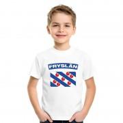 Bellatio Decorations T-shirt met Friese vlag wit kinderen