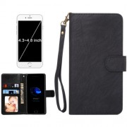 A4 Universal Da Vinci Texture Horizontal Flip Leather Case with Crad Slots & Wallet & Photo Frame & Magnetic Buckle & 18cm Lanyard for iPhone 7 & 6s & 6 & 5 & 5s SE Samsung Galaxy SIV & SIII Size: 13.5 x 7 x 1.8 cm(Black)