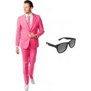 Roze heren kostuum / pak - maat 48 (M) met gratis zonnebril