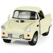 Toy Diecast Car Play Vehicles, Classic Diecast Model Cars, Old Car Models, Moving Vehicle Toys, Pull Back Action with Lights and Sounds 1:38 - iPlay, iLearn (White)
