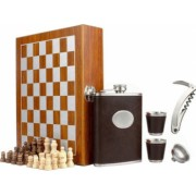 Set format din 5 piese Caseta din lemn cu 2 pahare sticla whiskey tirbuson si joc sah maro inchis Pufo