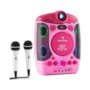 Kara Projectura Sistema Karaoke com Projetor efeitos de Luz LED usb Rosa