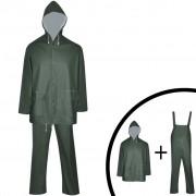 vidaXL Costum de ploaie impermeabil cu glugă, mărime M, verde, 2 piese