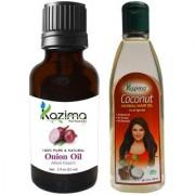 KAZIMA Combo of Onion Oil 15ML and Coconut Herbal Hair Oil 100ML Anti Hair Loss Treatment Maintains Healthy Scalp & Dandruff Control