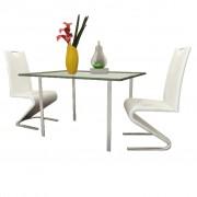 vidaXL Трапезни столове, 2 броя, U-образни, изкуствена кожа, бели