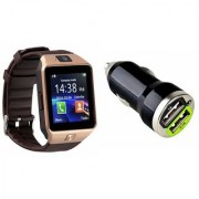 Zemini DZ09 Smart Watch and Car Charger for XOLO BLACK 1X(DZ09 Smart Watch With 4G Sim Card Memory Card| Car Charger)