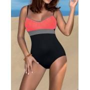 One Piece Color Splice Bikini Swimwear