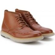 Clarks Flexton Mid Tan Leather Boots For Men(Tan)