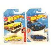 Hw Vehicle Bundle Hot Wheels 2018 50Th Anniversary Flames '55 Chevy 12/365, Yellow & Factory Fresh Corvette C7 Z06 Convertible 5/365, Blue
