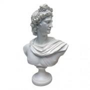 Design Toscano PD72520 Apollo Belvedere 350 - 325 BC de mármol, Resina escultural Busto, Color Blanco