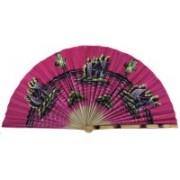 Folks Handcrafts Foldable Self Design Pink Hand Fan(Pack of 1)