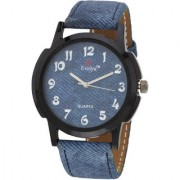 Evelyn Round Dial Blue Fabric Strap Quartz Watch For Men