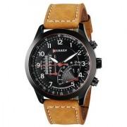 Curren Black Round Dial Brown Leather Strap Analog Quartz Formal Watch for Men