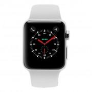 Apple Watch Series 3 Edelstahlgehäuse 38mm silber mit Sportarmband weiss (GPS + Cellular) edelstahl silber refurbished