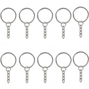 """BronaGrand 25Mm/0. 98"""" Metal Split Key Ring with Chain and Open Jump Rings Pack of 50"""