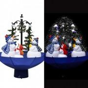 Brad de Crăciun cu ninsoare și bază umbrelă albastru 75 cm PVC