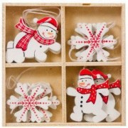 Set ornamente brad Craciun lemn